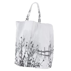 Snow Winter Cold Landscape Fence Giant Grocery Zipper Tote