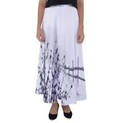 Snow Winter Cold Landscape Fence Flared Maxi Skirt