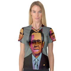 George W Bush Pop Art President Usa V Neck Sport Mesh Tee by BangZart