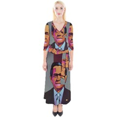 George W Bush Pop Art President Usa Quarter Sleeve Wrap Maxi Dress by BangZart