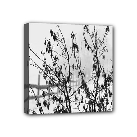 Snow Winter Cold Landscape Fence Mini Canvas 4  X 4  by BangZart