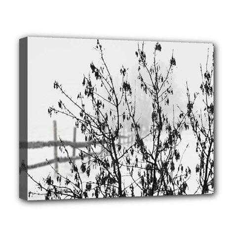 Snow Winter Cold Landscape Fence Deluxe Canvas 20  X 16