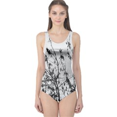 Snow Winter Cold Landscape Fence One Piece Swimsuit