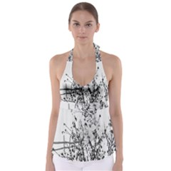 Snow Winter Cold Landscape Fence Babydoll Tankini Top