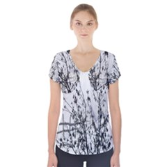 Snow Winter Cold Landscape Fence Short Sleeve Front Detail Top