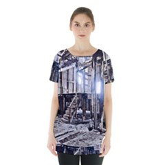 House Old Shed Decay Manufacture Skirt Hem Sports Top