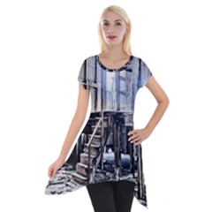 House Old Shed Decay Manufacture Short Sleeve Side Drop Tunic by BangZart