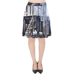 House Old Shed Decay Manufacture Velvet High Waist Skirt