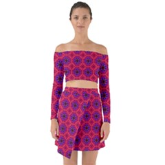 Retro Abstract Boho Unique Off Shoulder Top With Skirt Set