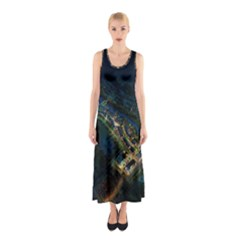 Commercial Street Night View Sleeveless Maxi Dress