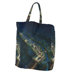 Commercial Street Night View Giant Grocery Zipper Tote