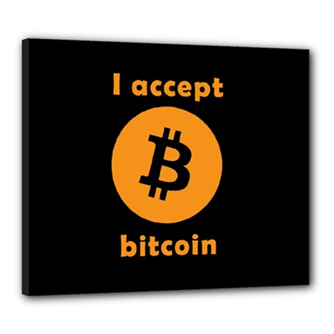 I Accept Bitcoin Canvas 24  X 20  by Valentinaart