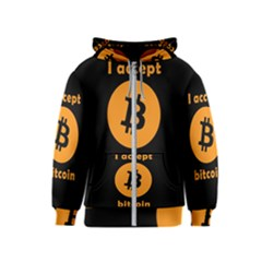 I Accept Bitcoin Kids  Zipper Hoodie by Valentinaart