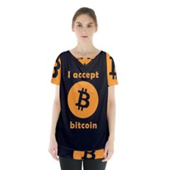 I Accept Bitcoin Skirt Hem Sports Top by Valentinaart