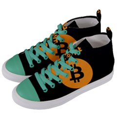 I Accept Bitcoin Women s Mid Top Canvas Sneakers by Valentinaart