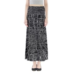 Black Abstract Structure Pattern Full Length Maxi Skirt