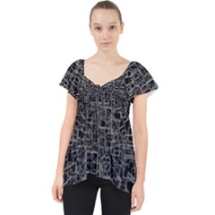 Black Abstract Structure Pattern Lace Front Dolly Top