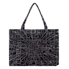 Black Abstract Structure Pattern Medium Tote Bag