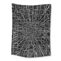 Black Abstract Structure Pattern Medium Tapestry by BangZart