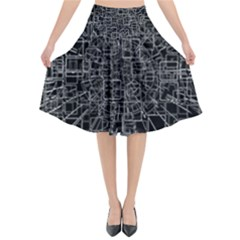 Black Abstract Structure Pattern Flared Midi Skirt