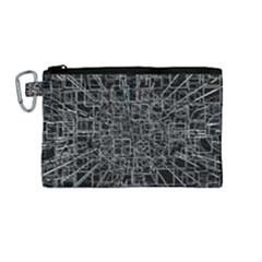 Black Abstract Structure Pattern Canvas Cosmetic Bag (medium)