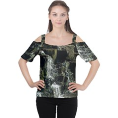 Water Waterfall Nature Splash Flow Cutout Shoulder Tee