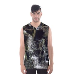 Water Waterfall Nature Splash Flow Men s Basketball Tank Top by BangZart