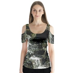Water Waterfall Nature Splash Flow Butterfly Sleeve Cutout Tee  by BangZart