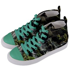 Water Waterfall Nature Splash Flow Women s Mid Top Canvas Sneakers by BangZart