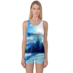 Ski Holidays Landscape Blue One Piece Boyleg Swimsuit