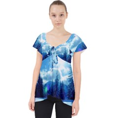 Ski Holidays Landscape Blue Lace Front Dolly Top