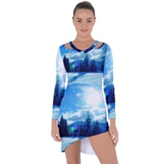 Ski Holidays Landscape Blue Asymmetric Cut Out Shift Dress