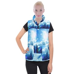 Ski Holidays Landscape Blue Women s Button Up Puffer Vest