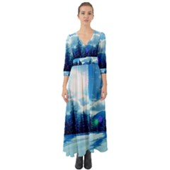 Ski Holidays Landscape Blue Button Up Boho Maxi Dress