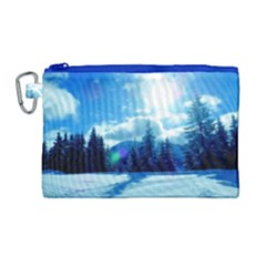 Ski Holidays Landscape Blue Canvas Cosmetic Bag (large) by BangZart