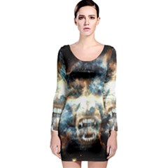 Universe Vampire Star Outer Space Long Sleeve Bodycon Dress