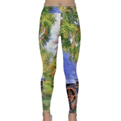 Landscape Blue Shed Scenery Wood Classic Yoga Leggings by BangZart