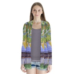 Landscape Blue Shed Scenery Wood Drape Collar Cardigan