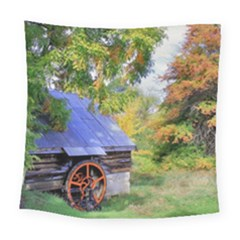 Landscape Blue Shed Scenery Wood Square Tapestry (large)