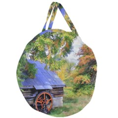 Landscape Blue Shed Scenery Wood Giant Round Zipper Tote