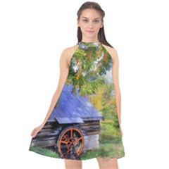Landscape Blue Shed Scenery Wood Halter Neckline Chiffon Dress