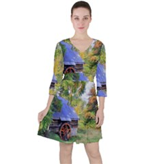 Landscape Blue Shed Scenery Wood Ruffle Dress