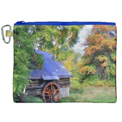 Landscape Blue Shed Scenery Wood Canvas Cosmetic Bag (xxl)
