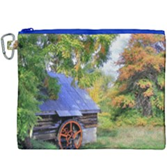 Landscape Blue Shed Scenery Wood Canvas Cosmetic Bag (xxxl)
