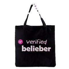 Verified Belieber Grocery Tote Bag by Valentinaart