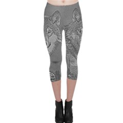Wolf Forest Animals Capri Leggings