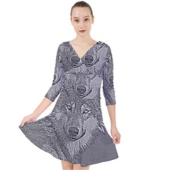 Wolf Forest Animals Quarter Sleeve Front Wrap Dress