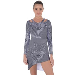 Wolf Forest Animals Asymmetric Cut Out Shift Dress