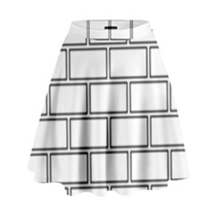 Wall Pattern Rectangle Brick High Waist Skirt