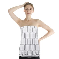 Wall Pattern Rectangle Brick Strapless Top